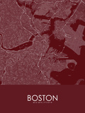 Boston, United States of America Red Map Prints