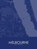 Melbourne, United States of America Blue Map Posters