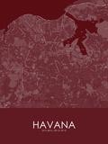 Havana, Cuba Red Map Kunstdrucke