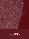 Chennai, India Red Map Poster