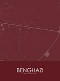 Benghazi, Libya Red Map Posters