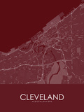Cleveland, United States of America Red Map Posters