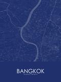 Bangkok, Thailand Blue Map Posters