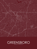 Greensboro, United States of America Red Map Posters