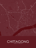 Chittagong, Bangladesh Red Map Posters