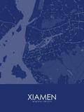 Xiamen, China Blue Map Posters
