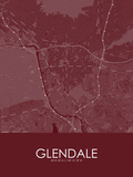 Glendale, United States of America Red Map Prints