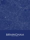 Birmingham, United Kingdom Blue Map Prints