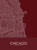 Chicago, United States of America Red Map Print