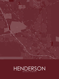 Henderson, United States of America Red Map Print