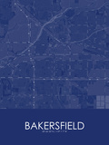 Bakersfield, United States of America Blue Map Posters