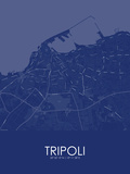 Tripoli, Libya Blue Map Prints