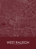 West Raleigh, United States of America Red Map Print