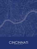Cincinnati, United States of America Blue Map Poster