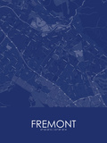 Fremont, United States of America Blue Map Posters