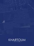 Khartoum, Sudan Blue Map Posters