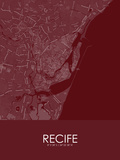 Recife, Brazil Red Map Poster