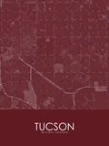 Tucson, United States of America Red Map Prints