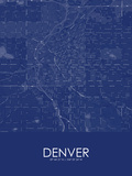 Denver, United States of America Blue Map Posters