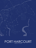 Port Harcourt, Nigeria Blue Map Posters