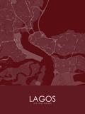 Lagos, Nigeria Red Map Poster
