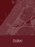 Dubai, United Arab Emirates Red Map Prints