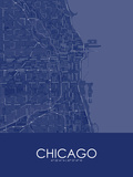 Chicago, United States of America Blue Map Print