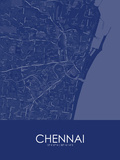 Chennai, India Blue Map Poster