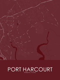 Port Harcourt, Nigeria Red Map Posters