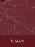 Luanda, Angola Red Map Prints