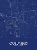 Columbus, United States of America Blue Map Prints