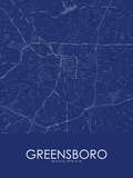 Greensboro, United States of America Blue Map Posters