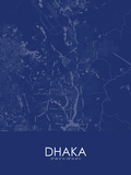 Dhaka, Bangladesh Blue Map Posters