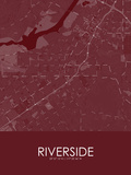 Riverside, United States of America Red Map Posters