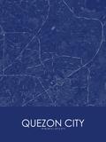 Quezon City, Philippines Blue Map Prints