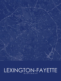 Lexington-Fayette, United States of America Blue Map Posters