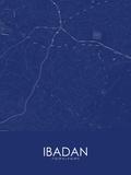 Ibadan, Nigeria Blue Map Prints