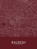 Raleigh, United States of America Red Map Photo