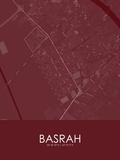 Basrah, Iraq Red Map Print