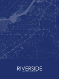 Riverside, United States of America Blue Map Posters