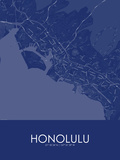 Honolulu, United States of America Blue Map Prints