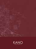 Kano, Nigeria Red Map Posters