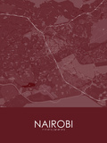 Nairobi, Kenya Red Map Poster