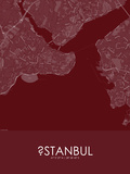 Istanbul, Turkey Red Map Affiches
