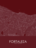 Fortaleza, Brazil Red Map Posters