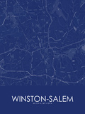 Winston-Salem, United States of America Blue Map Posters