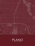 Plano, United States of America Red Map Prints