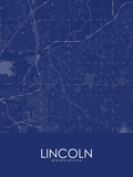 Lincoln, United States of America Blue Map Poster