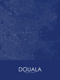 Douala, Cameroon Blue Map Posters