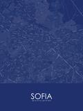 Sofia, Bulgaria Blue Map Posters